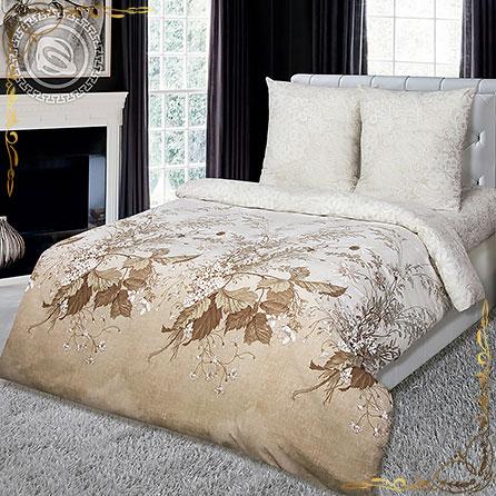 Комплект постельного белья Адажио на резинке. Материал поплин. Цвет бежевый. Размер 1,5 Спальный