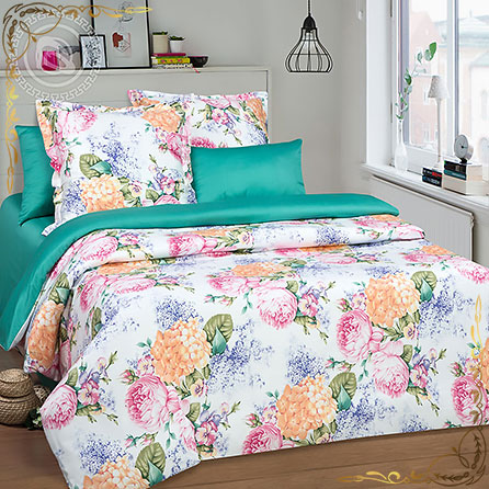 Комплект постельного белья Элиза ПР. Материал сатин. Цвет бирюзовый. Размер 1,5 Спальный
