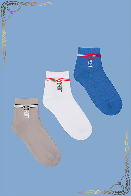 Носки Спринт детские. Цвет серый+бел+син. Вид 1. Размер 17-23
