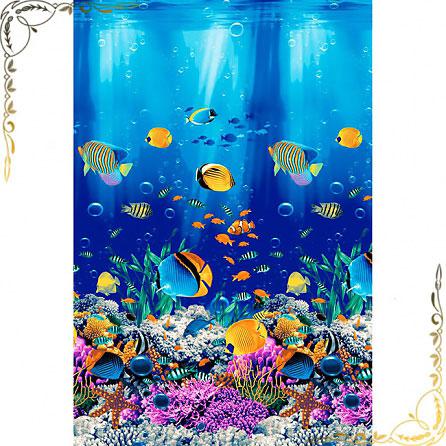 """Полотенце вафельное """"Подводный мир 1"""" 100Х150. Материал хлопок. Цвет синий+рыбки."""