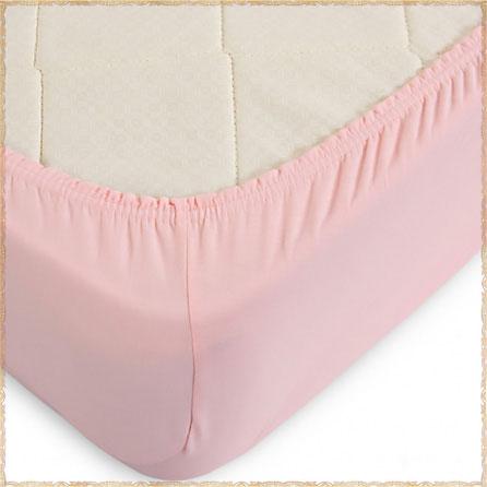 Трикотажная простыня на резинке. Материал кулирка. Цвет розовый.