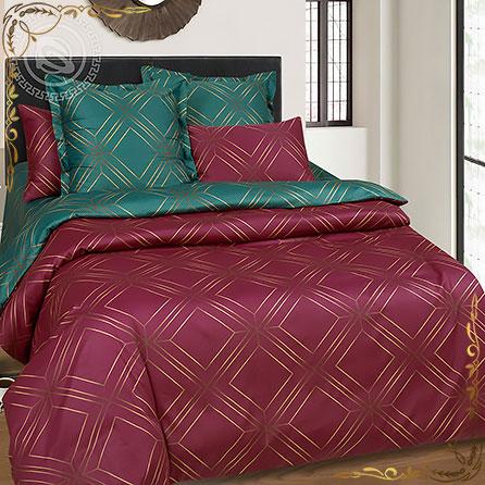 Комплект постельного белья Шарль ПР. Материал сатин. Цвет бордовый. Размер 1,5 Спальный