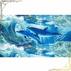 Вафельное полотенце Дельфинарий 100Х150
