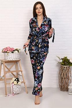 Комплект женский с цветочным принтом 6168 тройка