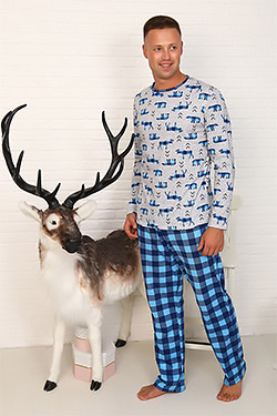 Костюм мужской с брюками трикотажный фэмили лук 14513