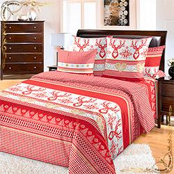 Комплект постельного белья перкаль Лапландия 1 красный