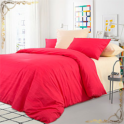 Постельное белье перкаль Махровый тюльпан красное
