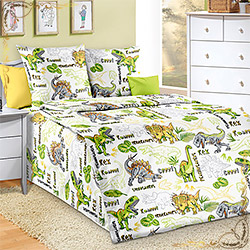 Комплект постельного белья бязь Эра динозавров зеленый