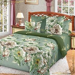 Постельное белье Каролина 1 зеленое из бязи