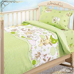 Комплект постельного белья Соня 2 зеленый из бязи