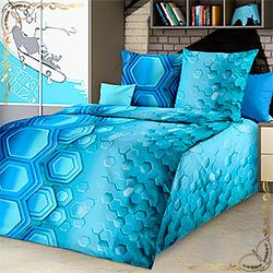 Комплект постельного белья бязь Свечение голубой