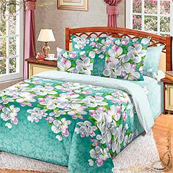 Постельное белье бязь Яблони в цвету 1 зеленое