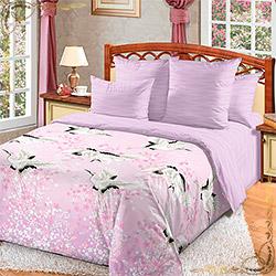 Постельное белье перкаль Журавлиный танец розовое