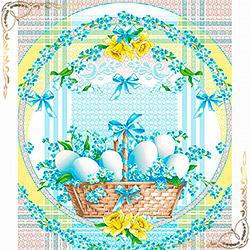 Полотенце вафельное Благодать 50Х60 голубое
