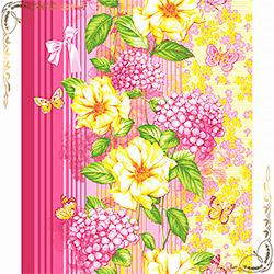 Полотенце вафельное Цветник 50Х70 розовое