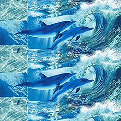 Полотенце вафельное Дельфинарий 47х70 синее