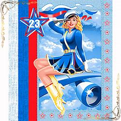 Полотенце вафельное Летчица 50Х60. голубое