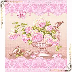Полотенце вафельное Пташки 50Х60 розовое