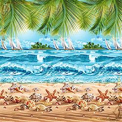 Полотенце вафельное Райский уголок 47Х70 голубое