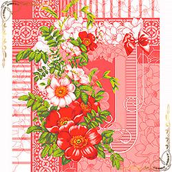 Полотенце вафельное Шиповник 50Х60 розовое