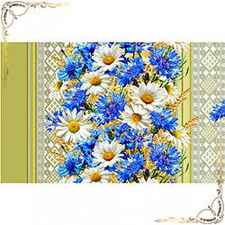 Полотенце Васильки 100Х150 голубое из вафельного полотна