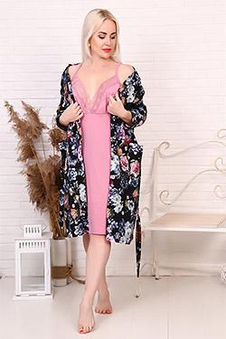 Пеньюар трикотажный цветочной расцветки 6187