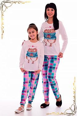 Пижама женская брюками в клетку 1-152