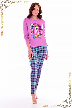 Пижама женская с брюками в клетку 1-170