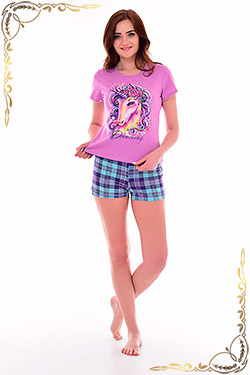 Пижама женская с принтом единорог 1-171