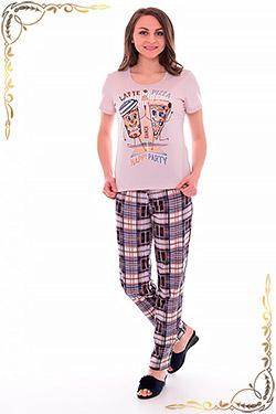 Пижама женская с брюками в клетку 1-184