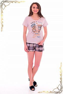 Пижама женская с шортами в клетку 1-185