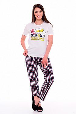Пижама с брюками в клетку 1-203