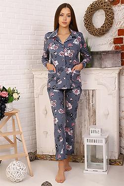 Пижама женская с цветочным принтом 11519