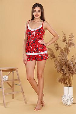 Пижама трикотажная с эластичным кружевом 18008