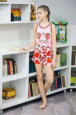 Пижама на девочку с шортами 21507