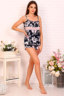Пижама трикотажная с кружевом 25750