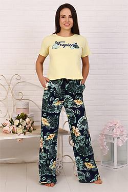 Пижама с брюками тропической расцветки 30506