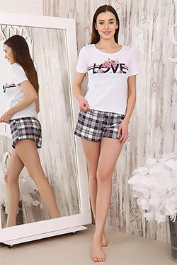 Пижама трикотажная с шортами в клетку 5972