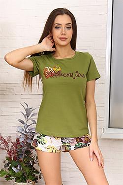 Пижама женская с цветочным притом 6914