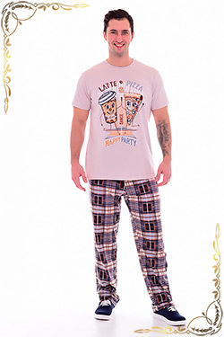 Пижама мужская трикотажная с брюками 9-132