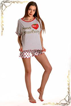 Пижама женская с шортами свободного кроя Эльсанта