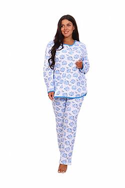 Пижама женская теплая свободного покроя Мальва