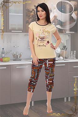 Пижама больших размеров трикотажная с бриджами Утро