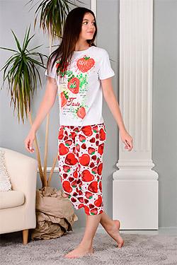 Пижама трикотажная с принтом клубничка Ванда