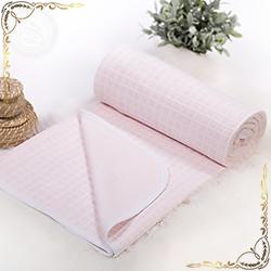 Покрывало Клетка розовое из трикотажного полотна