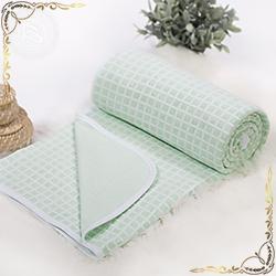 Покрывало трикотажное полотно Клетка зеленое