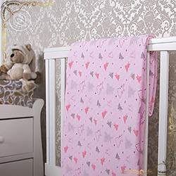 Покрывало Мишки малышки розовое из трикотажа