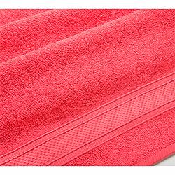 Махровое полотенце Бордюр коралловое
