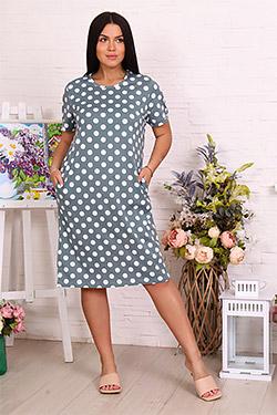 Платье трикотажное в горошек 11587