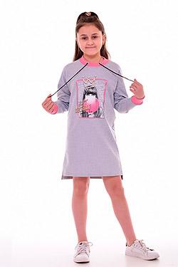 Платье на девочку трикотажное с принтом 12-091